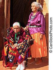 antigas, navajo, mulher, e, dela, filha