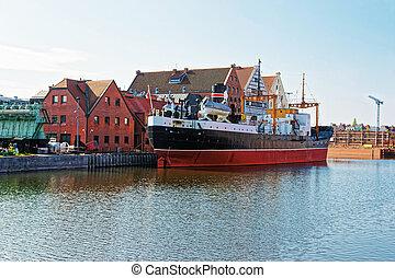 antigas, navio, e, quay, de, motlawa, rio, de, gdansk