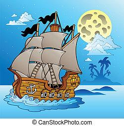antigas, navio, em, noturna, seascape