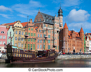 antigas, navio, ligado, motlawa, rio, em, gdansk, histórico,...