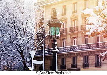 antigas, neve coberta, borne lâmpada, contra, inverno, paris