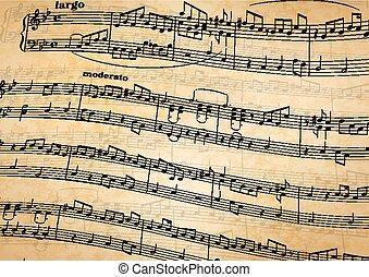 antigas, notas, aduela, papel, música, fundo