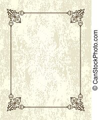 antigas, notas., cartão, vindima, quadro, espaço, text., saudação, em branco, retro, modelo, convite, ou