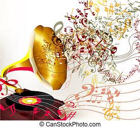 antigas, notas, criativo, vetorial, fundo, gramophone, branca