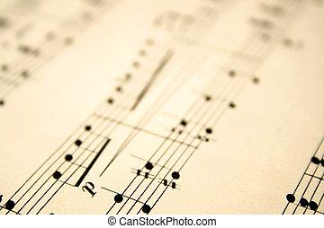 antigas, notas, raso, cima, foco., música, fim, folha