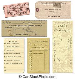 antigas, objetos, vindima, notas, -, letras, papel, bilhetes, vetorial, desenho, scrapbook