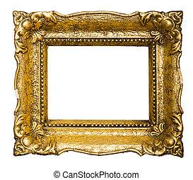 antigas, ouro, armação quadro