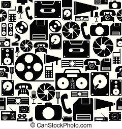 antigas, padrão, seamless, fundo, icon., tecnologia