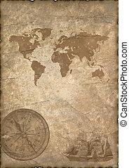 antigas, papel, com, compasso, e, map.