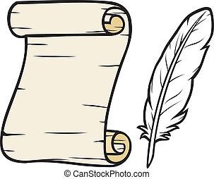 antigas, papel, com, pena