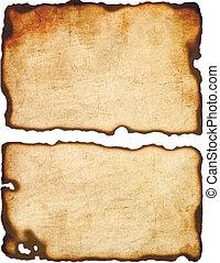 antigas, papel, com, queimado, bordas, isolado, branco, fundo, vetorial, eps8