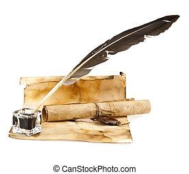antigas, papel, e, caneta