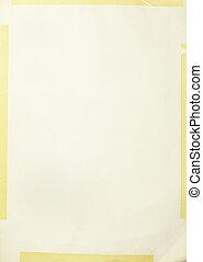 antigas, papel, grunge, fundo amarelo