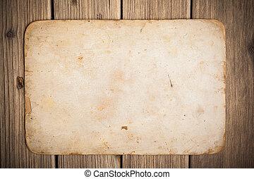 antigas, papel, ligado, a, madeira, fundo