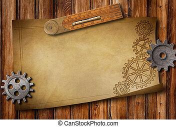 antigas, papel, régua, desenho, e, mecânico, partes, ligado, tabela madeira