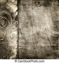 antigas, papel rasgado, experiência., textura
