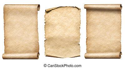 antigas, papel, scrolls, ou, parchments, realistc, 3d,...