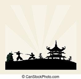 antigas, papel, silueta, samurai