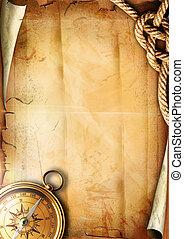 antigas, papel, textura, com, um, compasso