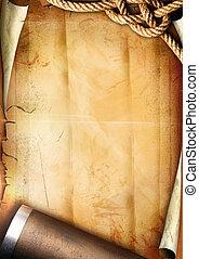 antigas, papel, textura, com, um, corda