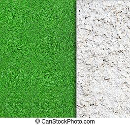 antigas, parede, com, grama verde, fundo