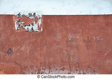 antigas, parede, com, rasgado, chinês, aviso