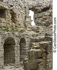 antigas, parede, em, castelo