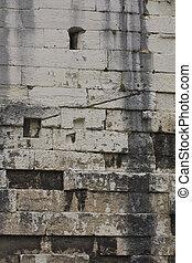 antigas, parede tijolo, com, fuligem