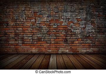 antigas, paredes, madeira, floors., tijolo, vermelho