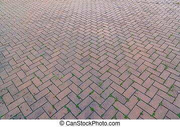 antigas, passeio, maneira, fundo,  footpath, tijolo