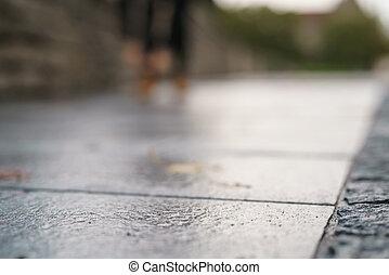 antigas, pavimento, baixo, molhados, tiro ângulo, tallinn