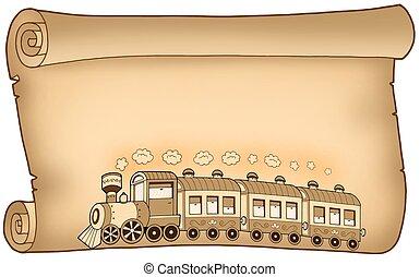 antigas, pergaminho, com, trem