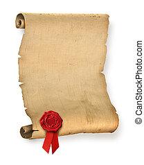 antigas, pergaminho, com, vermelho, selo cera