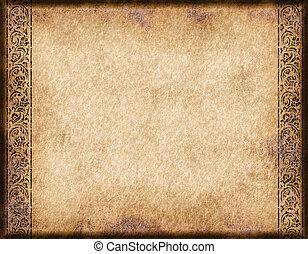 antigas, pergaminho, ou, papel