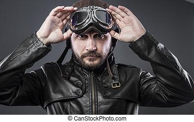 172d83384d antigas, piloto avião, com, marrom, revestimento couro, arador, chapéu,