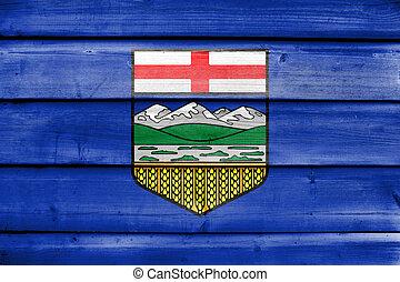 antigas, pintado, província, bandeira, madeira, fundo, alberta canadá, prancha
