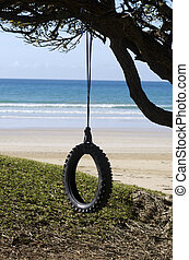 antigas, pneu, árvore, pendurado, balanço, praia, sea.