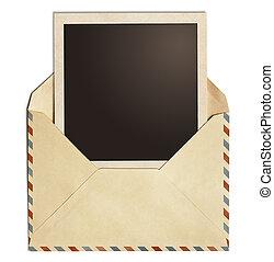 antigas, polaroid, quadro, envelope, isolado, ar, foto, poste, branca
