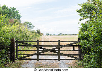 antigas, portão, por, um, estrada rural