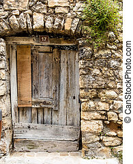 antigas, porta, feito, de, madeira
