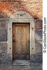 antigas, porta, ornate