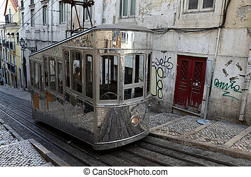 antigas, portugal, carro cabo, rua, lisboa