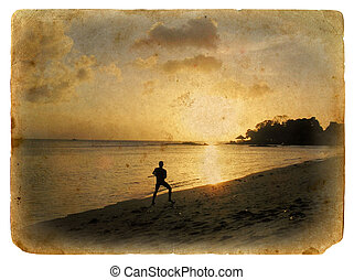 antigas, praia., silueta, homem, postcard.