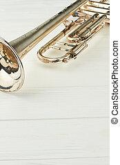 antigas, prata, trompete, e, cópia, space.