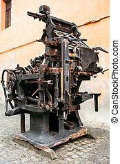 antigas, prensa impressão, -, rotativo, máquina, -,...