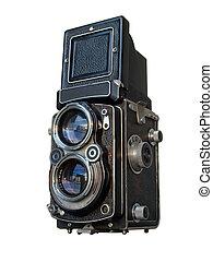 antigas, pretas, lente gêmea, reflexo, câmera