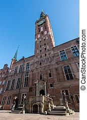 antigas, principal, corredor cidade, em, gdansk, polônia