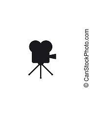 antigas, projetor, cinema, filme, isolado, ilustração, experiência., vetorial, retro, branca, ícone