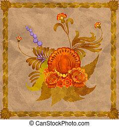antigas, quadro, arranjo, fundo, folhas, floral, eps10, paper.