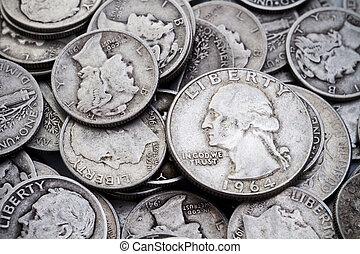 antigas, &, quartos, pilha, prata, moedas dez centavos